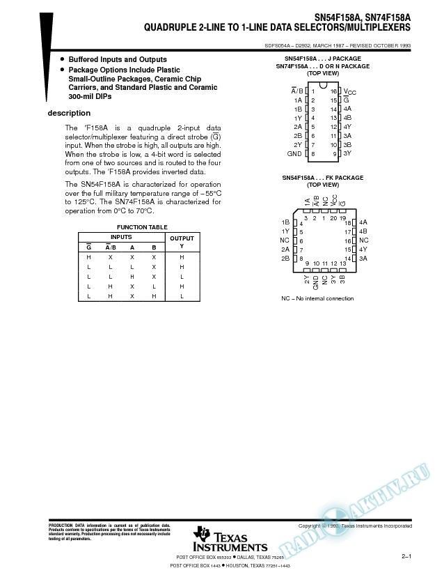 Quadruple 2-Line To 1-Line Data Selectors/Multiplexers (Rev. A)