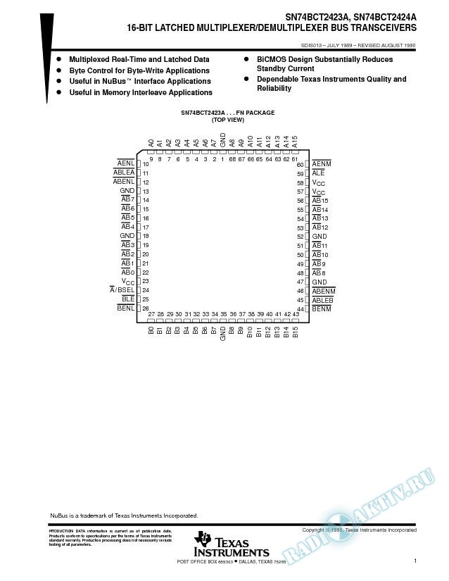 16-Bit Latched Multiplexer/Demultiplexer Bus Transceivers