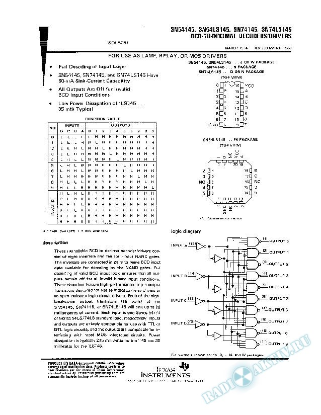 BCD to Decimal Decoders/Drivers (Rev. A)