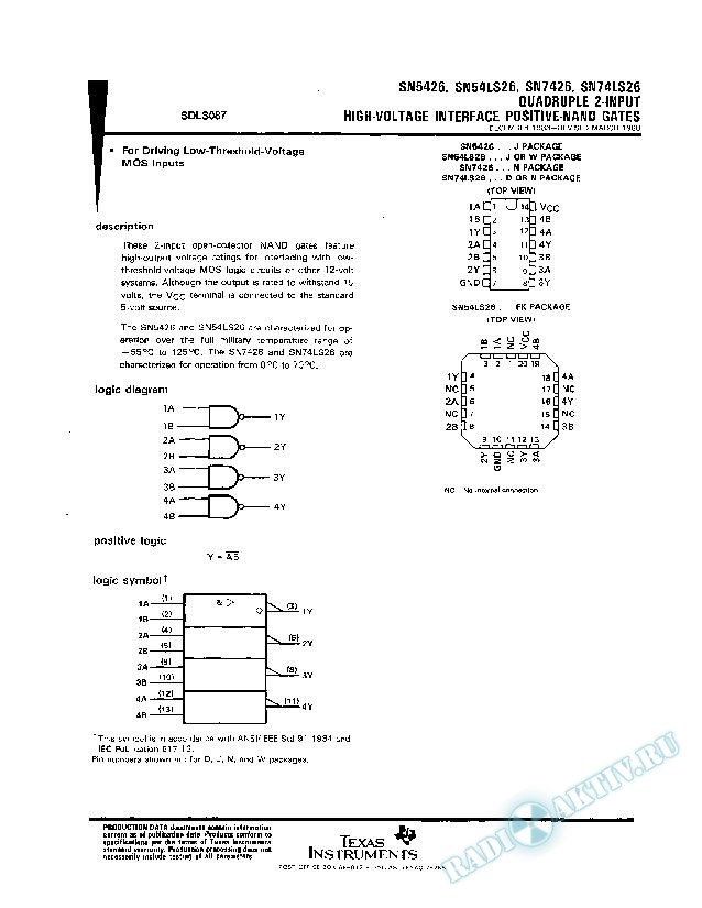 Quadruple 2-Input High-Voltage Interface Positive-NAND Gates