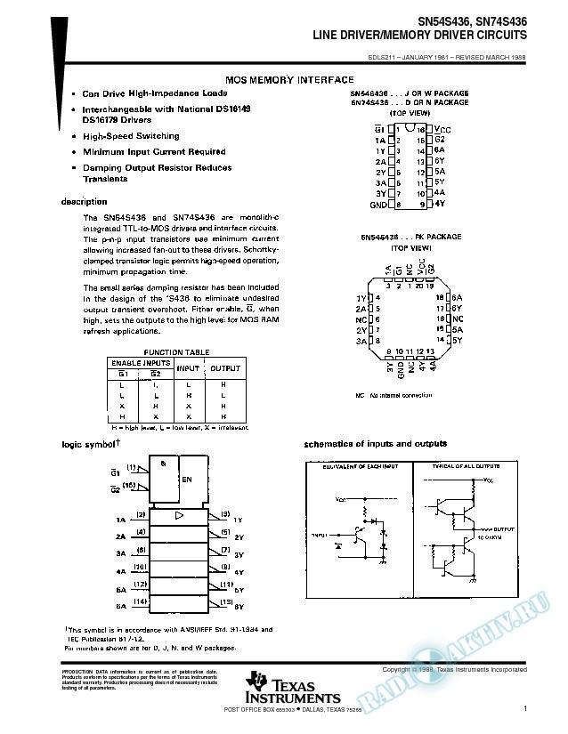 Line Driver/Memory Driver Circuits