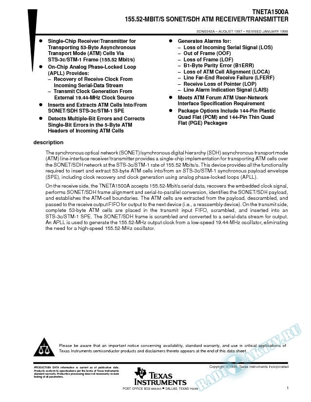 155.52-MBit/S SONET/SDH ATM Receiver/Transmitter (Rev. A)
