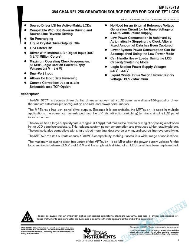 384-Channel 256-Gradation Source Driver for Color TFT LCDS (Rev. A)
