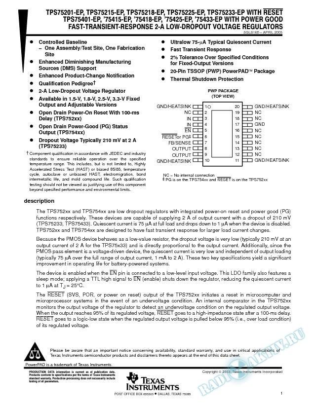 TPS752xx-EP w/Reset TPS754xx-EP w/Power Good Fast Trans Respon Volt Regulators