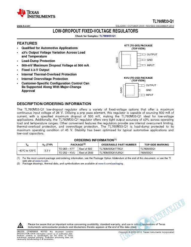 Low-Dropout Fixed-Voltage Regulator (Rev. I)
