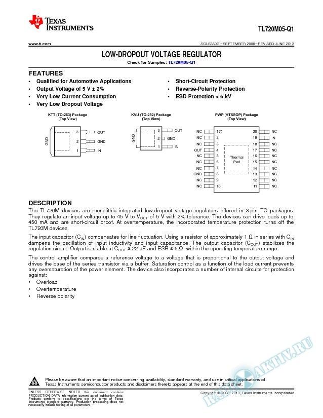 TL720M05-Q1 Low-Dropout Voltage Regulator.. (Rev. G)