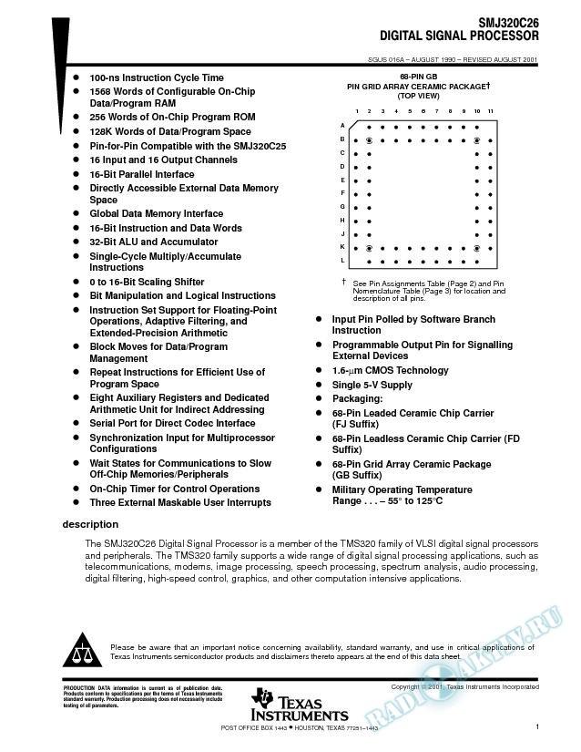 SMJ320C26 Digital Signal Processor (Rev. A)
