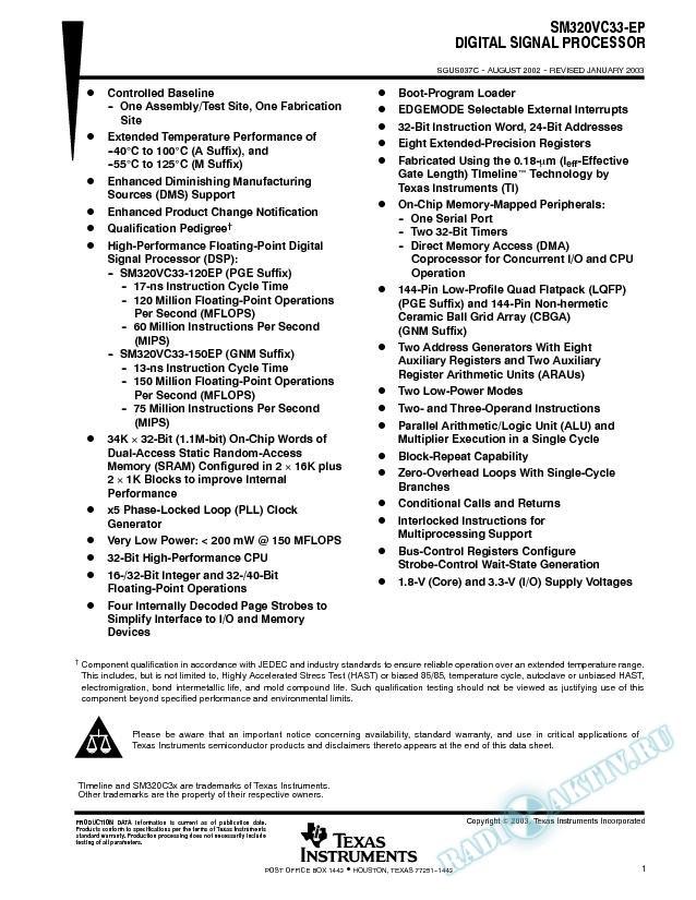 SM320VC33-EP Digital Signal Processor (Rev. C)