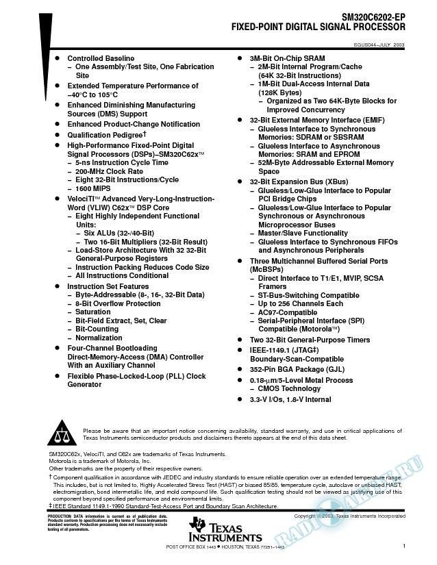 SM320C6202-EP Fixed-Point Digital Signal Processor