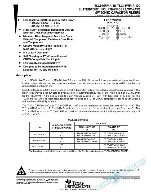 Butterworth Fourth-Order Low-Pass Switched-Capacitor Filters (Rev. A)