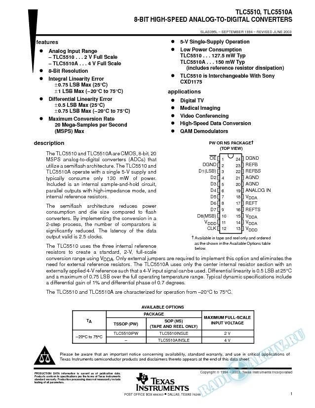8-Bit High-Speed Analog-to-Digital Converters (Rev. L)