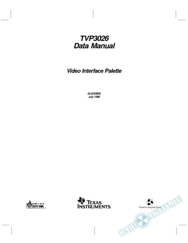 Video Interface Palette Data Manual (Rev. B)