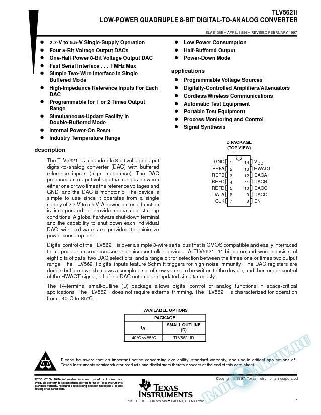 Low-Power Quadruple 8-Bit Digital-to-Analog Converter (Rev. B)