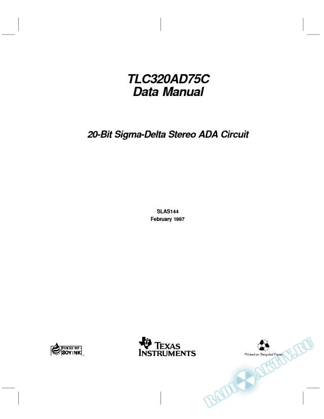 20-Bit Sigma-Delta Stereo ADA Circuit Data Manual