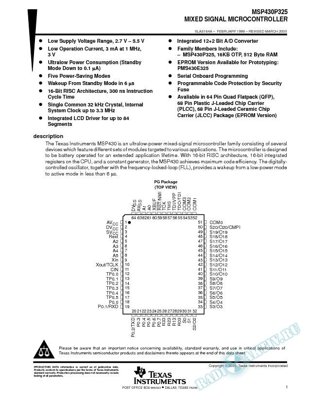 MSP430P325 Mixed Signal Microcontrollers (Rev. A)