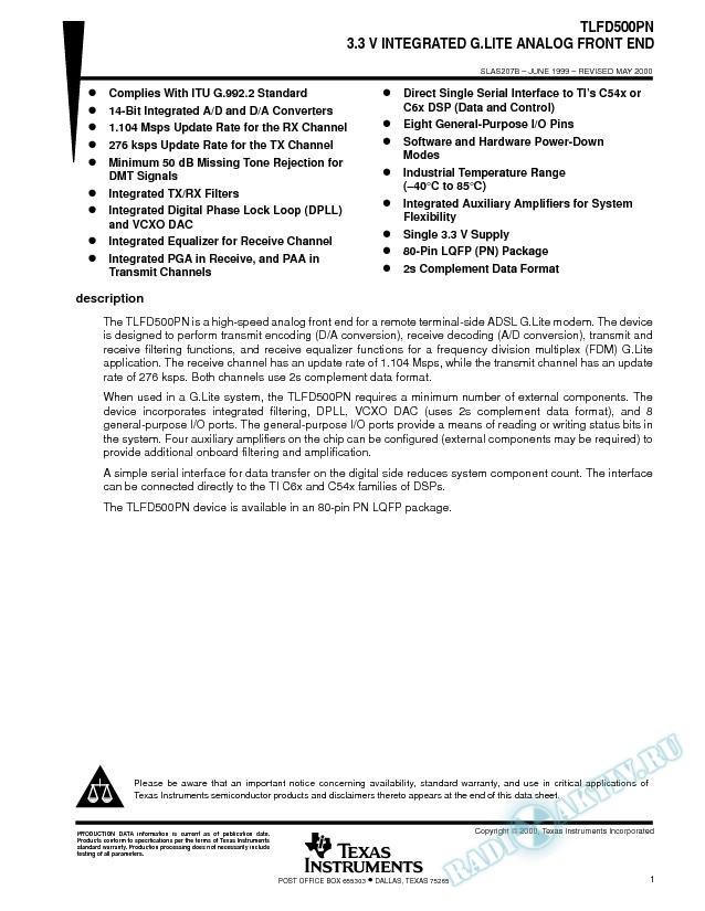 3.3 V Integrated G.Lite Analog Front End (Rev. B)