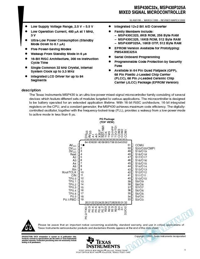 MSP430C32x, MSP430x32xA Mixed Signal Microcontroller (Rev. B)