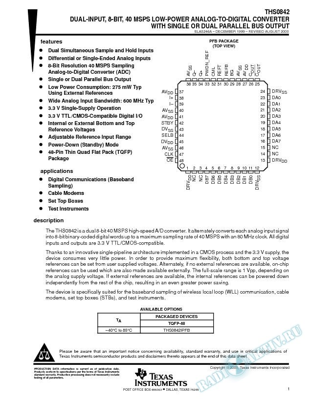 Dual-Input, 8-Bit, 40 MSPS, Low-Power ADC w/ Single or Dual Parallel Bus Output (Rev. A)