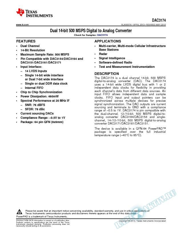 Dual 14-bit 500 MSPS Digital to Analog Converter (Rev. A)