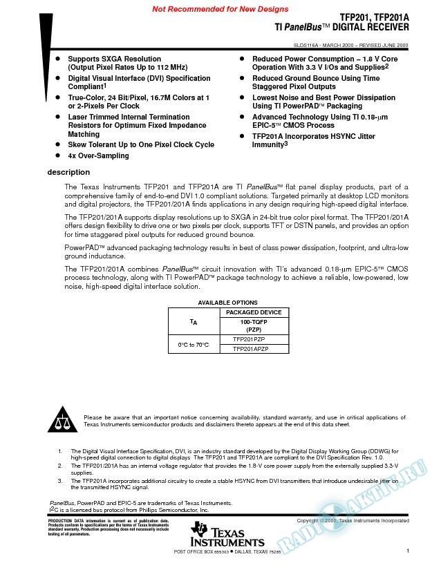 TI PanelBus(TM) Digital Receiver (Rev. A)