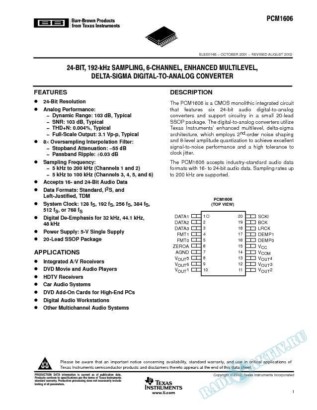 24-Bit, 192-kHz Sampling, 6-Channel, Enhanced Multilevel, Delta-Sigma (Rev. B)