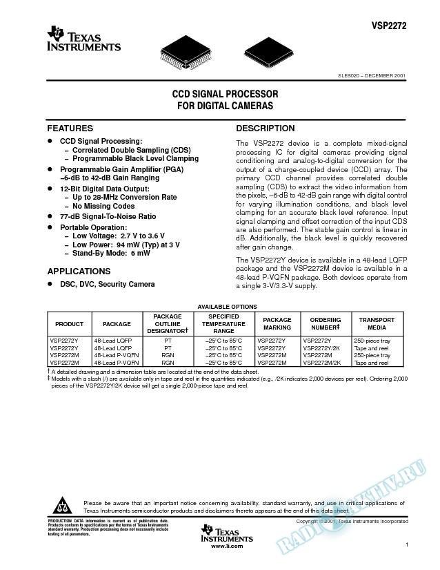 CCD Signal Processor for Digital Cameras