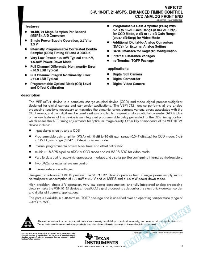 3-V, 10-Bit, 21-MSPS, Enhanced Timing Control CCD Analog Front End
