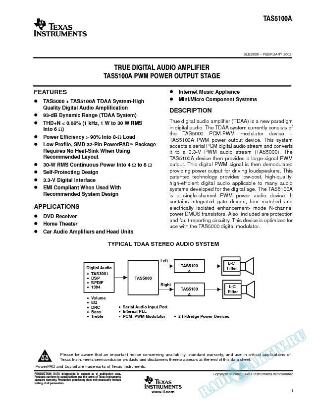 True Digital Audio Amplifier TAS5100A PWM Power Output Stage