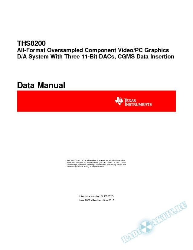 THS8200 All-Format Oversampled Component Video/PC Graphics D/A System (Rev. D)