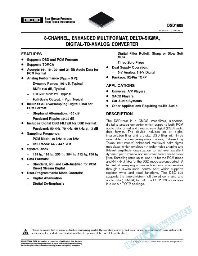 8-Channel, Enhanced MultiFormat, Delta-Sigma, Digital-to-Analog Converter