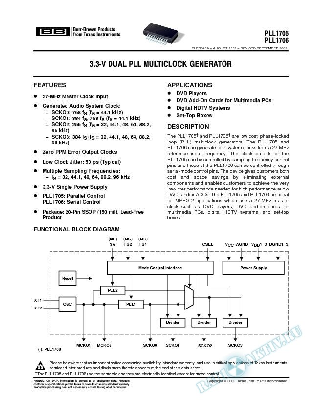 3.3-V Dual PLL MultiClock Generator (Rev. A)