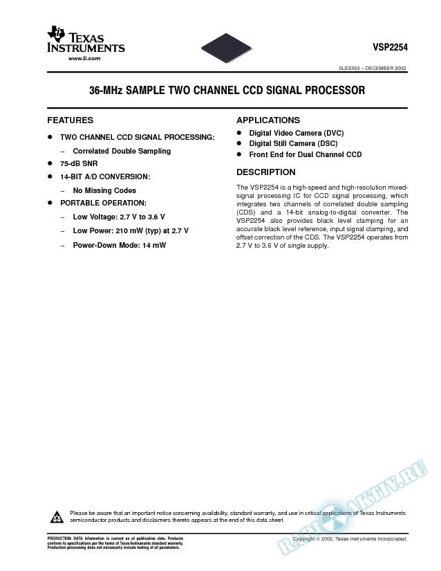 VSP2254: 36-MHz Sample Two Channel CCD Signal Processor