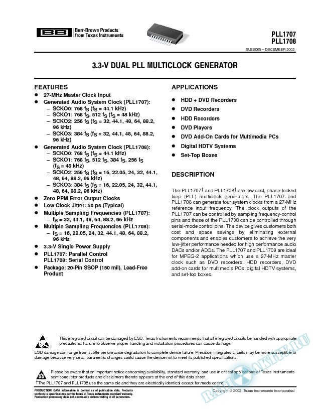 3.3 V Dual PLL Multi-Clock Generator