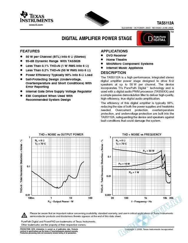 TAS5112A: Digital Amplifier Power Stage (Rev. B)