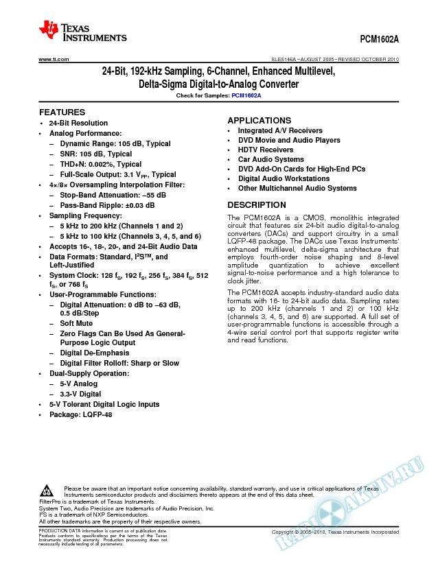 24-Bit-192 kHz Sampling 6-Channel Enhanced Multilevel Delta-Sigma DAC (Rev. A)