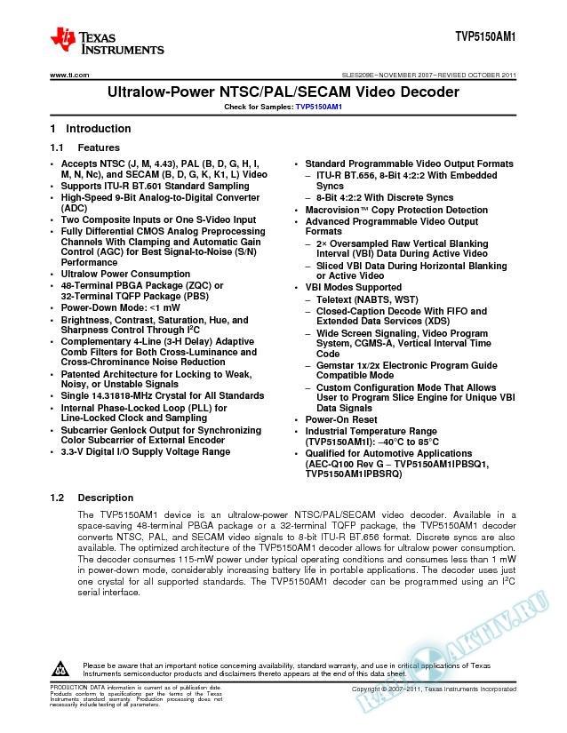 TVP5150AM1 Ultralow-Power NTSC/PAL/SECAM Video Decoder (Rev. E)