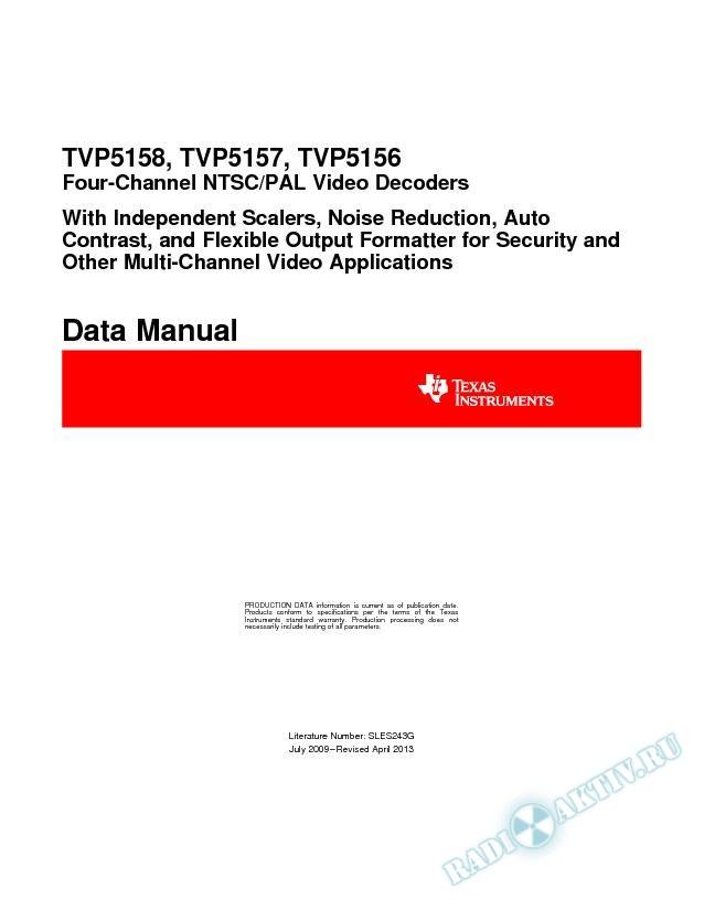 TVP5158, TVP5157, TVP5156 Four-Channel PAL/NTSC Video Decoder (Rev. G)