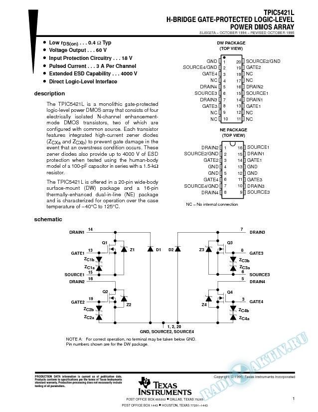 H-Bridge Gate-Protected Logic-Level Power DMOS Array (Rev. A)