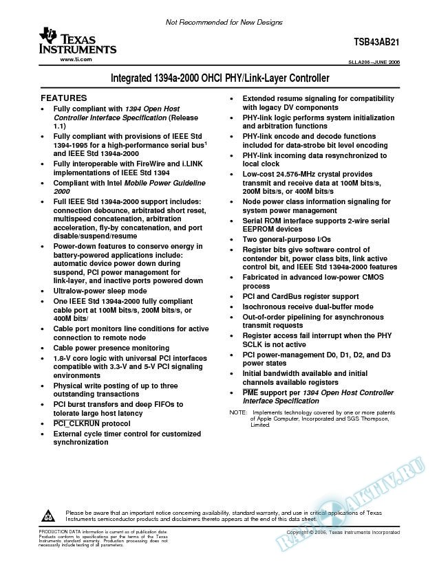 Integrated 1394a-2000 OHCI PHY/Link-Layer Controller