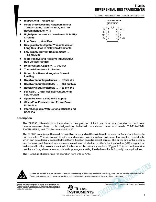 Differential Bus Transceiver (Rev. D)
