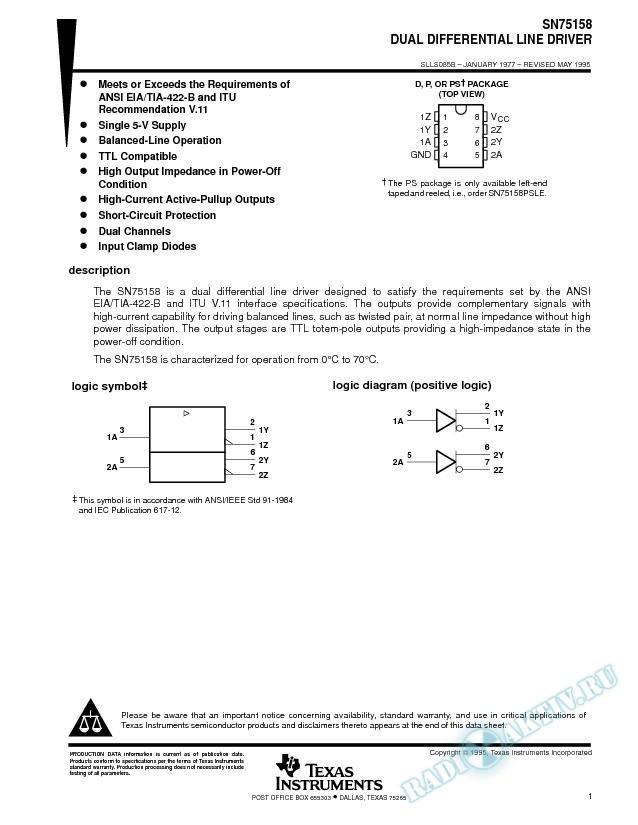 Dual Differential Line Driver (Rev. B)