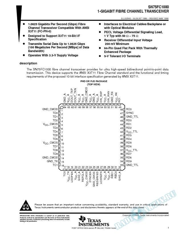 1-Gigabit Fibre Channel Transceiver (Rev. E)