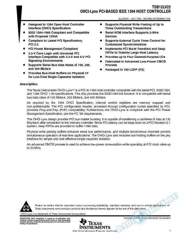 OHCI-Lynx PCI-Based 1394 Host Controller (Rev. A)