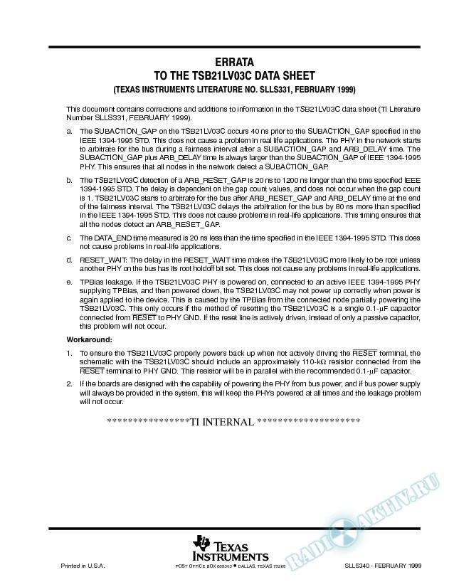 Errata To The TSB21LV03c Data Sheet
