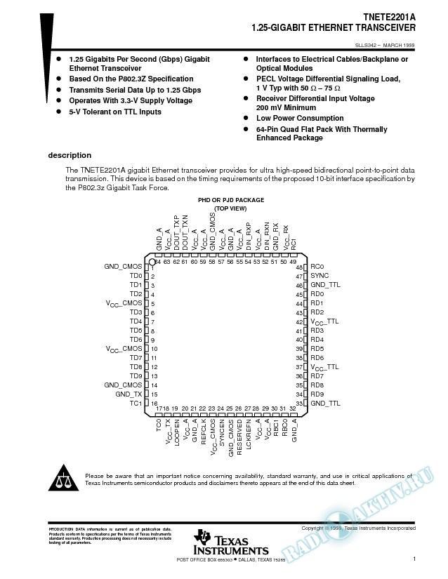 1.25-Gigabit Ethernet Transceiver