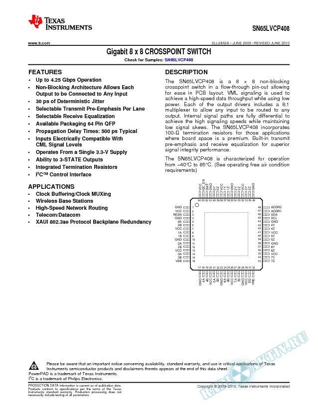 Gigabit 8x8 CROSSPOINT SWITCH (Rev. A)