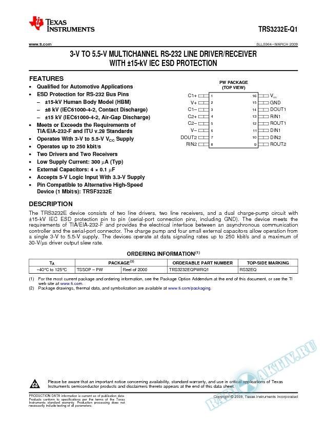 3-V to 5.5-V Multichannel RS-232 Line Driver/Receiver