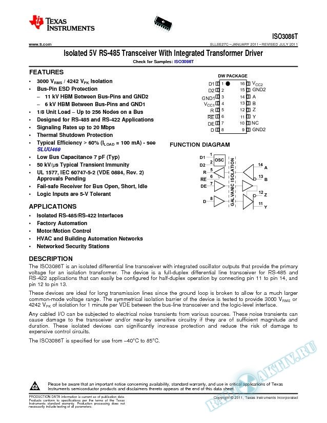 Isolated 485 Transceiver with integrated transformer driver (Rev. C)