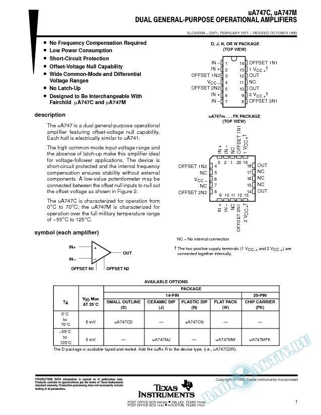 Dual General-Purpose Operational Amplifiers (Rev. A)