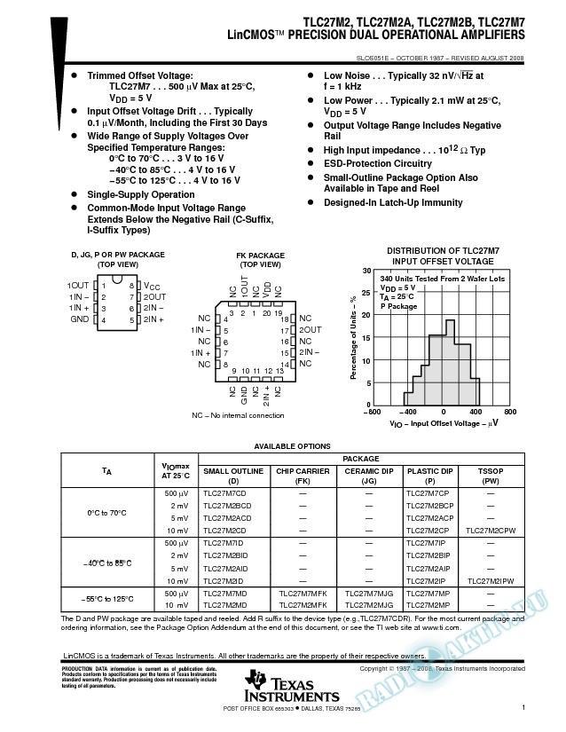 LinCMOS Precision Dual Operational Amplifiers (Rev. E)